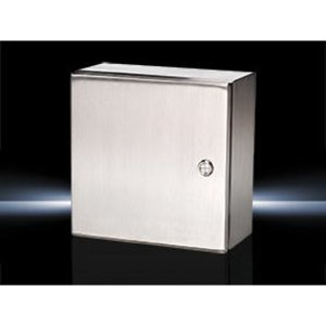 "Rittal 8017600 Junction Box, NEMA 4X, Hinged Cover, Stainless Steel, 24"" x 24"" x 8"""