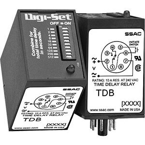 SSAC TDB120AL Timing Relay, 8 Pin, On Delay, SPDT, 120VAC 1 - 1023s