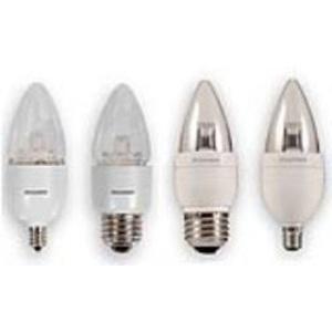 SYLVANIA LED6B13BLUNTDIM827G2RP LED Lamp, Dimmable, B13, 6W, 120V, Medium Base