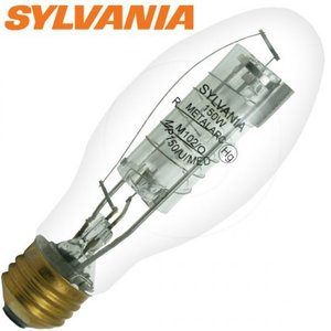 SYLVANIA MP150/U/MED Metal Halide Lamp, Pulse Start, ED17, 150W, Clear