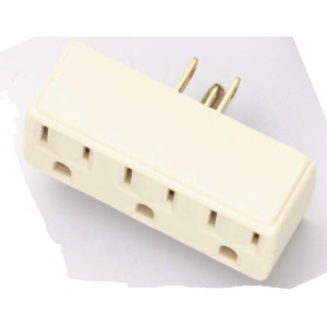 Satco 90-1118 Single to Triple Plug-In Adapter, Polarized, 15A, 125V, Ivory