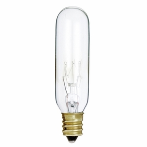 Satco S3912 Incandescent Bulb, T6, 15W, 145V, Clear