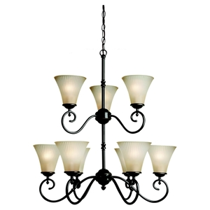 Sea Gull 31955-782 Chandelier, 9 Light, 100W, Heirloom Bronze