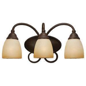 Sea Gull 44106-72 Bath Light, 3 Light, 100W, Olde Iron