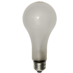Shat-R-Shield 1512 Incandescent Bulb, Shatter-Resistant, PS30, 300W, 120V, Frosted