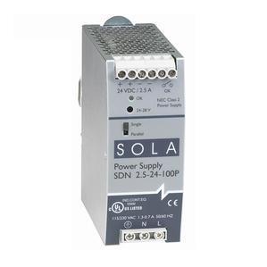 Sola Hevi-Duty SDN2.5-24-100P Power Supply, 2.5A, 1P, 85-264VAC, 24VDC, DIN Rail Mount