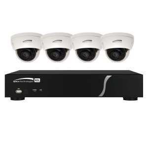 Speco Technologies ZIPL4D1 4 CH Plug-and-Play NVR 1080p, 120FPS, 1TB w/ 4 Outdoor IR Dome 2.8mm lens