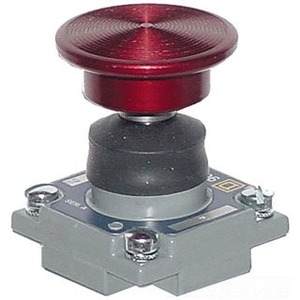 """Square D 2358C6G2 Limit Switch, Mushroom Head, Red, Palm Operated Turret Head, 1.38"""""""