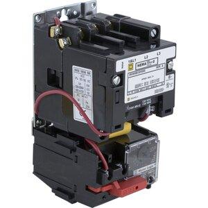 Square D 8536SAO12V02H30S Starter, Size 00, 9A, 600VAC, 120VAC Coil, Non-Reversing, Open, 3P