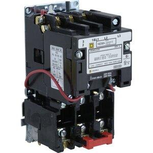 Square D 8536SCO3V06 Starter, Size 1, 27A, 600VAC, 480VAC Coil, Non-Reversing, 3P, Open