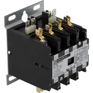 Square D 8910DPA34V02 Contactor, Definite Purpose, 30A, 600VAC, 120VAC Coil, 3PH, 4P