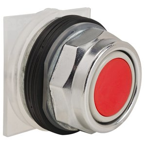 Square D 9001KR1R Push Button, Red, 30mm, Full Guard, No Contacts, Momentary