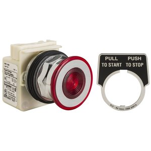 Square D 9001KR9P1R Push Button, Illuminated, Push/Pull, Red, Maintained, Operator Only