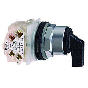 Square D 9001KS63FB Selector Switch, 3 Position, 30mm, Operator Only, Black Lever