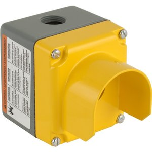 Square D 9001KYG1Y Enclosure, 1-Hole, Guarded, Die Cast, NEMA 1/3/4/13, Yellow/Gray