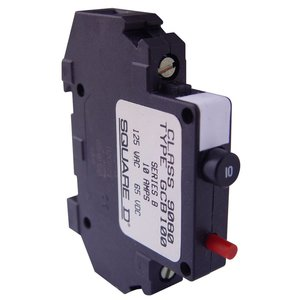 Square D 9080GCB100 Breaker, DIN Rail Mount, 1P, 10A, 250VAC, 65VDC, Thermal Magnetic