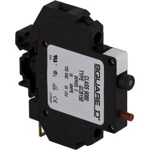 Square D 9080GCB150 Breaker, DIN Rail Mount, 1P, 15A, 250VAC, 65VDC, Thermal Magnetic