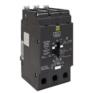 Square D EDB34030 Breaker, Bolt On, 3P, 30A, 480Y/277VAC, 25KAIC, Thermal Magnetic