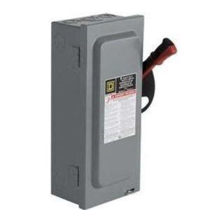 Square D H323NRB Disconnect Switch, Fusible, NEMA 3R, 100A, 3P, 240VAC, Neutral
