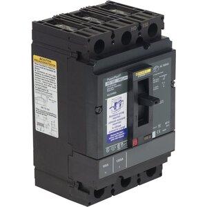 Square D HDL36100SA Breaker, Molded Case, 100A, 3P, 600VAC, 25-14kAIC, Shunt Trip