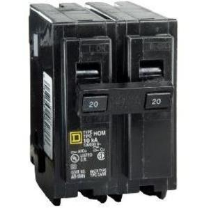 Square D HOM220 Breaker, Homeline, 2P, 20A, 120/240VAC, 10kAIC
