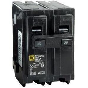 Square D HOM260 Breaker, Homeline, 2P, 60A, 120/240VAC, 10kAIC