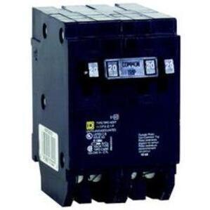 Square D HOMT2020220 Breaker, 20/20A, 2P, 120V, 10 kAIC, HomeLine Twin CB