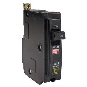 Square D QHB120 Breaker, Bolt On, Miniature, 20A, 1P, 120/240VAC, 65kAIC, Type QO