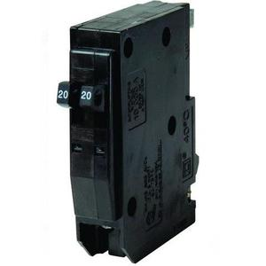Square D QO2020 Breaker, Plug In, Tandem, 1P, 20A, 120/240VAC, 10kAIC