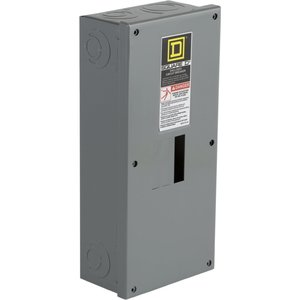 Square D QO2100BNS Breaker, Enclosure, 100A, 2P, 120/240VAC, Solid Neutral, NEMA 1