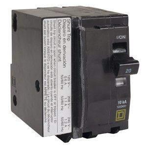 Square D QO2601021 Breaker, 2P, 60A, 120/240VAC, 10kAIC, Plug-In, Shunt Trip