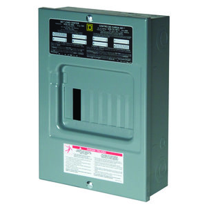 Square D QO612L100DS Load Center, Main Lug Only, 100A, 120/240VAC, 6/12, 1PH, NEMA 1