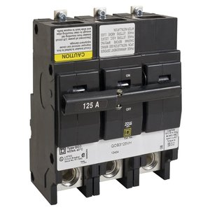 Square D QOB3150VH Breaker, Bolt-On, 150A, 3P, 120/240VAC, QOB Type, 22 kAIC