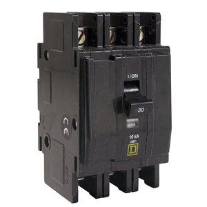 Square D QOU315 Breaker, Lug In/Lug Out, 3P, 15A, 120VAC, Type QO, 10kAIC