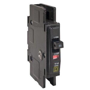 Square D QOUR110 Breaker, Lug In/Ring Terminal Out, 1P, 10A, 120VAC, Type QO, 10kAIC