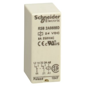 Square D RSB2A080BD Relay, Plug-In, Interface, 8A, 250VAC, 28VDC, 24VDC Coil, 8 Blade