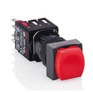 Square D XB6CW4G2B Push Button, 16mm, Square, Flush, Red, LED, 48-120V AC/DC, 1NC