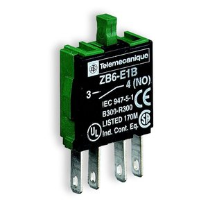 Square D ZB6E1B Pilot Device, 1NO Contact Block, 16mm, Plastic