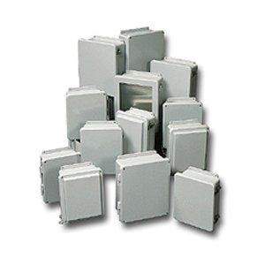 "Stahlin J1210W Enclosure, NEMA 4X, 12"" x 10"" x 5"", Screw Cover, Gray, Fiberglass"