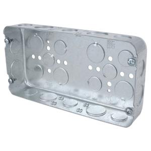 "Steel City 3G-1/2-3/4 Gang Box, 3-Gang, 1-5/8 Deep, 1/2"" and 3/4"" KOs, Drawn, Steel"