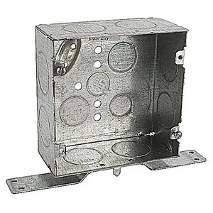 "Steel City 5-SDW-FB-1 4-11/16"" Square Box, Welded, Metallic, 2-1/8"" Deep, ""CV"" Bracket"
