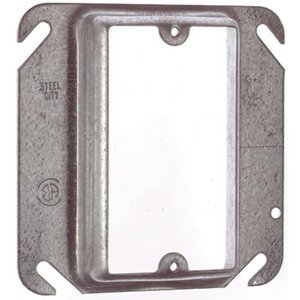 "Steel City 52-C-14-5/8 4"" Square Cover, 1-Device, Mud Ring, 5/8"" Raised, Drawn, Metallic"