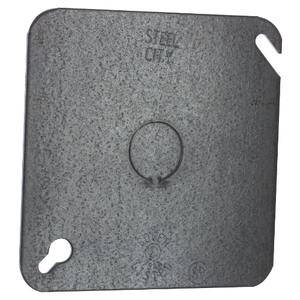"""Steel City 52-C-6 4"""" Square Cover, Flat, 1/2"""" Knockout in Center"""