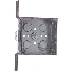 "Steel City 52151-CV-1/2-3/4 4"" Square Box, Welded, Metallic, 1-1/2"" Deep, CV Bracket"