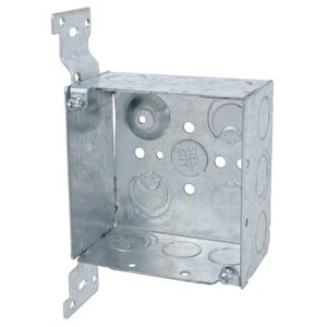 "Steel City 52171-CV1/2-3/4 4"" Square Box, Welded, Metallic, 2-1/8"" Deep, CV Bracket"