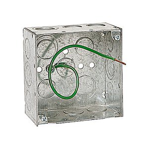 "Steel City 521711234EP 4"" Square Box, Welded, Metallic, 2-1/8"" Deep"