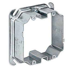 "Steel City 52CADJ2 4"" Square Adjustable Mud Ring, 1/2 - 1-1/2"" Deep, 2-Device, Steel"