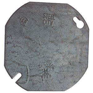 "Steel City 54-C-1 4"" Octagon Box Cover, Type: Blank, Steel"