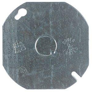 "Steel City 54-C-6 4"" Octagon Box Cover, Flat, 1/2"" KO, Steel"