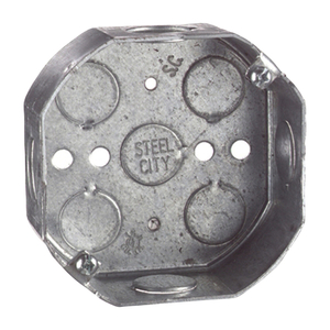 "Steel City 54151-1/2-&-3/4 4"" Octagon Box, 1-1/2"" Deep, 1/2"" & 3/4"" KOs, Drawn, Steel"